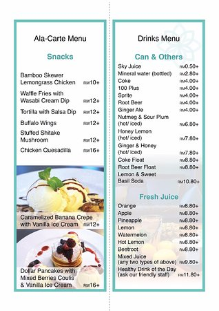 Urban Spice Cafe Menu