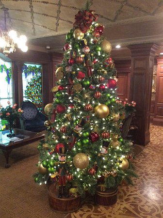 the drawing room at the prince of wales hotel the beautifully decorated christmas tree greets