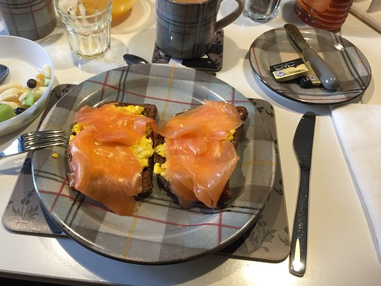 Stoer, UK: Yummy salmon, free range eggs (from the garden) and homemade bread...