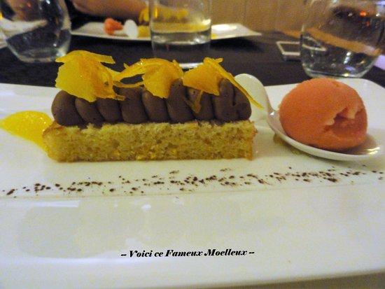 Ecouviez, France : -- Biscuit Moelleux au Chocolat/Orange avec Sorbet Orange Sanguine --