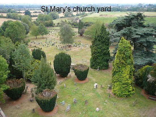 Powick church yard taken from St Mary's tower