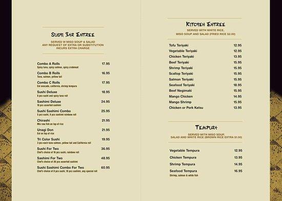Kasa sushi japanese restaurant sarasota restaurant for Akina japanese cuisine menu