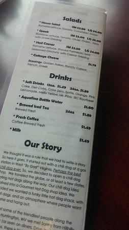 Back page of menu.