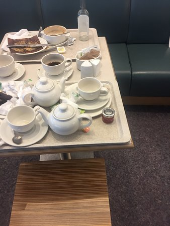 John Lewis Dirty tables poor coffee etc etc and trays and plates
