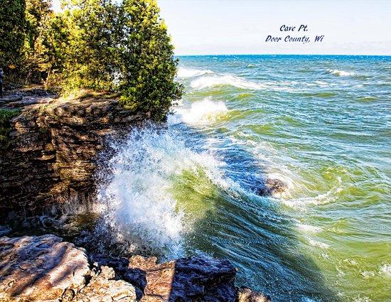 Sturgeon Bay, WI : Waves off of Lake Michigan pounding shoreline.