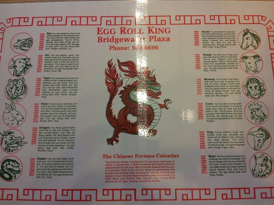 Placemat With Chinese Zodiac Picture Of Egg Roll King Bridgewater
