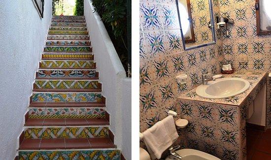 Санта-Марина-Салина, Италия: Scale e bagno di una camera.
