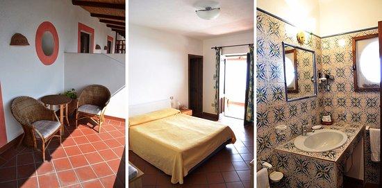 Санта-Марина-Салина, Италия: Terrazzino privato, camera, bagno privato.