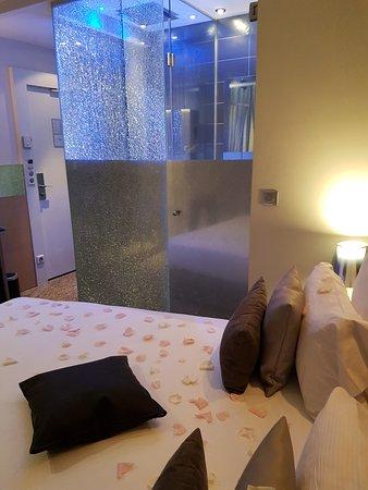 Hotel Design Secret de Paris: Rose petals on bed