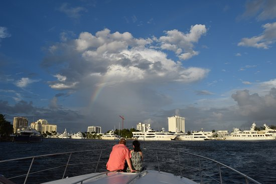 Free To Be Boating: Rainbow sighting! Our favorite spot onboard!
