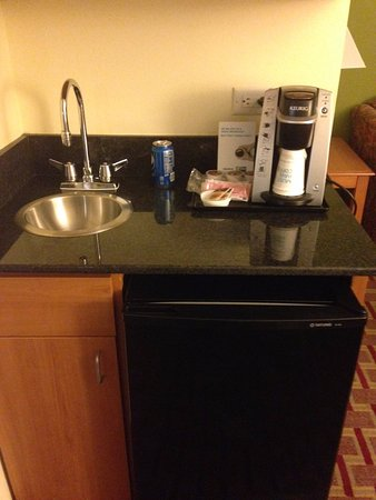 Holiday Inn Express Hotel & Suites - Veteran's Expressway: Hotel sink and fridge