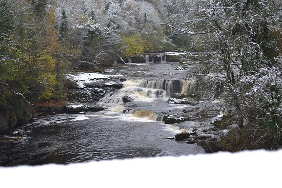 West Witton, UK: Aysgarth Falls, a short distance from the Heifer on a snowy morning
