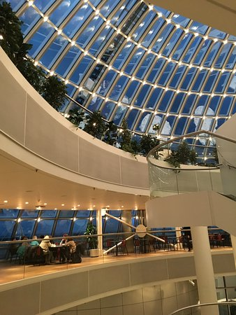 Perlan: Café On Fourth Floor, Restaurant On Fifth Floor With Domed Ceiling