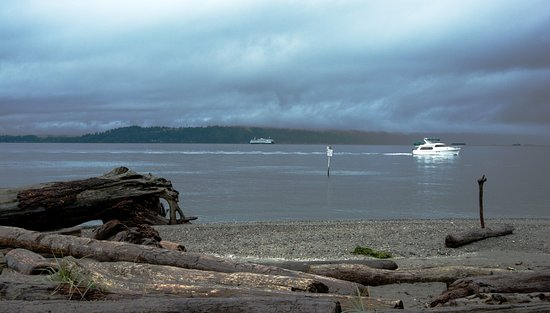 Edmonds, Вашингтон: Driftwood, yachts, and the ferry all easily seen. Bainbridge in the distance