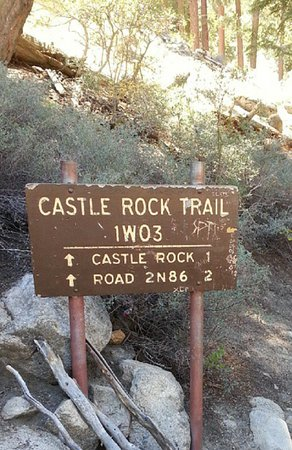 trailhead sign along big bear blvd picture of castle rock trail