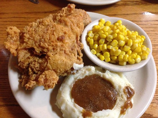 Saint Clair, MO: Fried chicken breast and leg with mashed potatoes and corn.