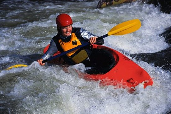 Bigfork, MT: One of the Kayakers during the famous Wild Mile Kayaking event.