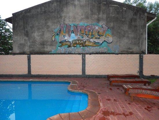 Hostel Park Iguazu: Mural en el lateral de la piscina