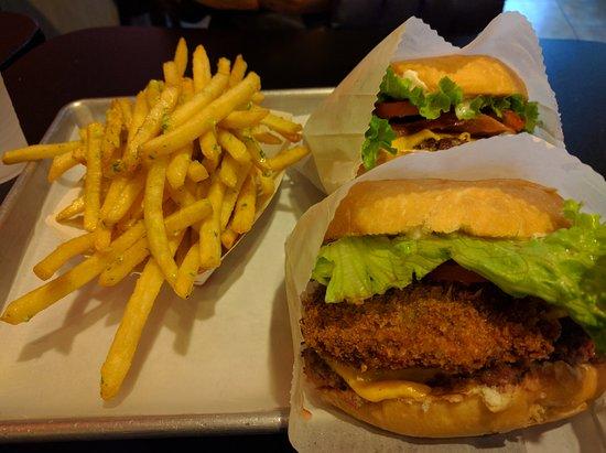 True Burger: Garlic fries, bacon cheese burger, and deluxe burger.