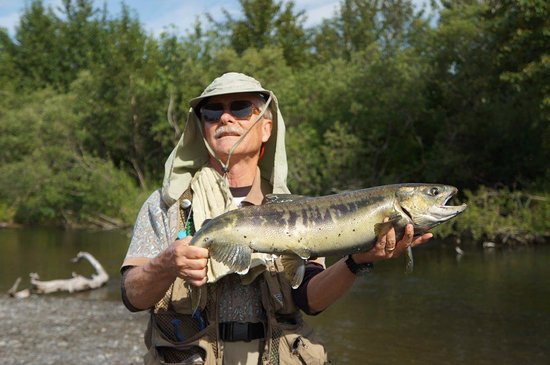 My dad with a Chum Salmon Picture of Saltery Lake Lodge Kodiak