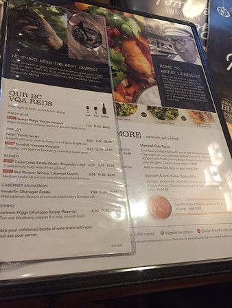 Menu options, White Spot Restaurants, 2299 Cliffe Ave, Courtenay, British Columbia