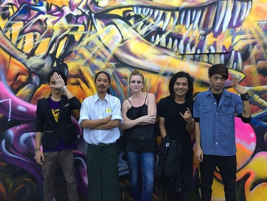 myanm art roar crew with myanmart director nathalie johnston