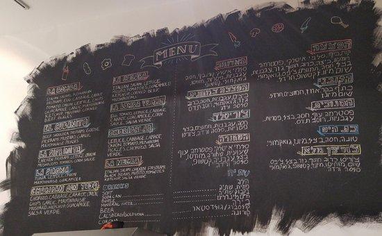 Distrikt Jerusalem, Israel: The menu at Pepito's is a work of art