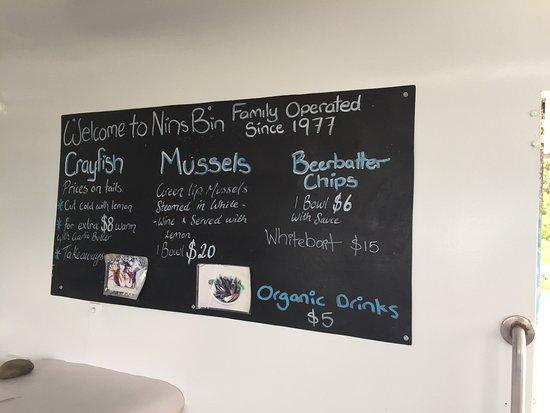 Nin's Bin : The menu: crayfish, mussels, chips and whitebait..