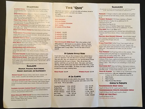 Utica, Мичиган: Hogs Hollow Smokehouse Menu