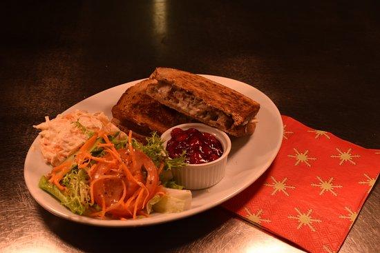 Dunbar Garden Centre Restaurant: Turkey, bacon and stuffing toastie with cranberry sauce