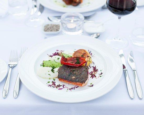 Elsenham, UK: Fillet of salmon, fondant potato, pea & cauliflower puree with a roasted pepper