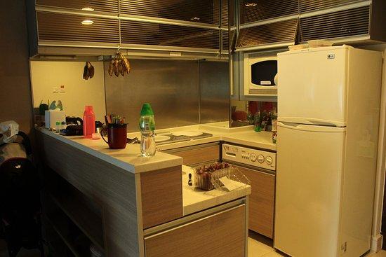 Kitchenette - fridge freezer, microwave, washing machine (our mess ...