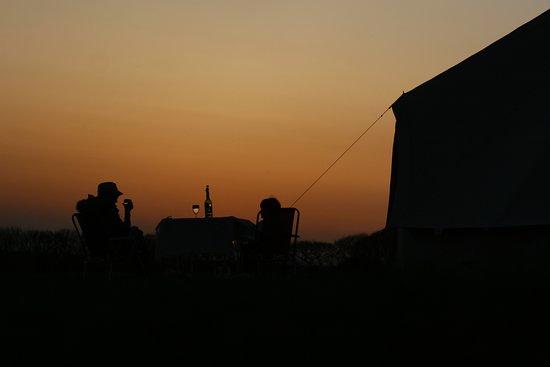 Haverfordwest, UK : Sunset, camping at Hilton Court, Pembrokeshire.