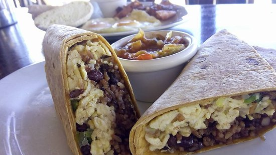 Rojo Loco: Breakfast Burrito with ranchero sauce