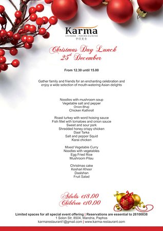 karma restaurant christmas day lunch buffet menu