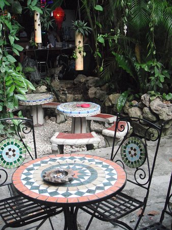 Cool little tables to sit at and eat and talk.