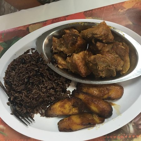 Pork and congri with ripe plantain