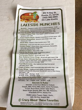 Eustis, FL: Partial picture of their menu