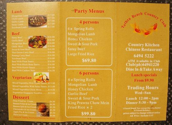 Chinese Restaurant Main Menu Tathra Beach Country Club