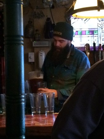 Woodstock, NH: Jacob at Pub for Post Tour Samples