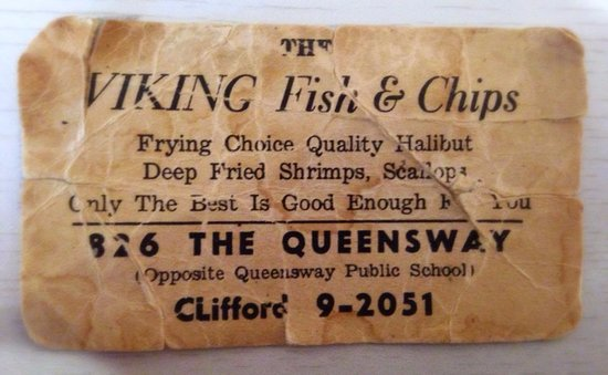 Old business card picture of viking fish chips toronto viking fish chips old business card reheart Image collections