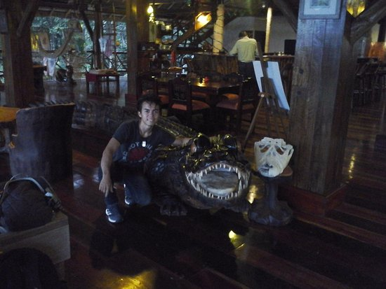 Napo Wildlife Center Ecolodge:  Wooden caiman