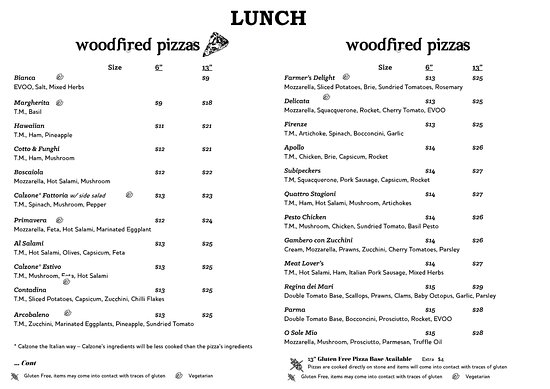 Woodpeckers: Lunch Menu
