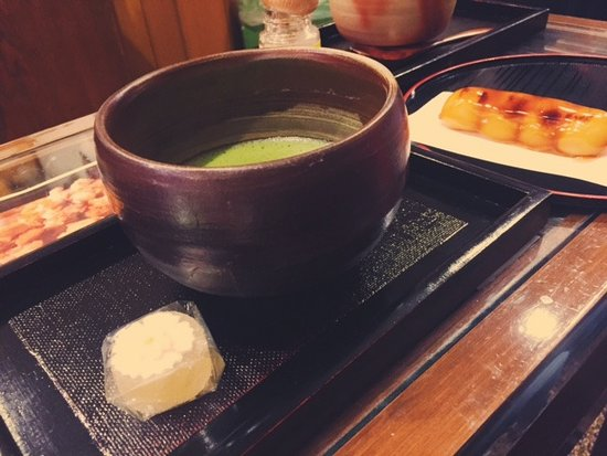 Ibaraki, Japan: good greentea with sakura shaped sweet