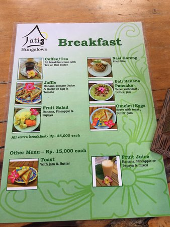 Jati 3 Bungalows: Our breakfast menu. We love all of them especially the Bali Banana Pancakes and Fruit Juice!