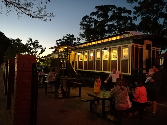 Guildford, Australia: diner area beside the railway track