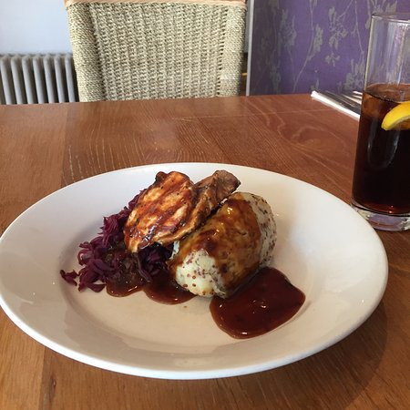 Ewe and Lamb: From our set menu, char grilled pork loin with mustard mash and braised red cabbage