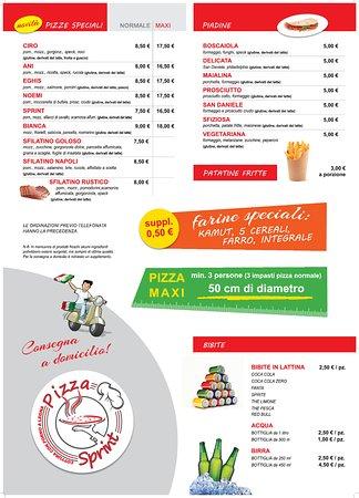 Menu Pt 2 Picture Of Pizza Sprint Limana Tripadvisor