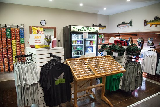 Grayling, MI: Fly Shop - open year round selling fly fishing equipment, apparel, snacks and beverages.Fly Shop