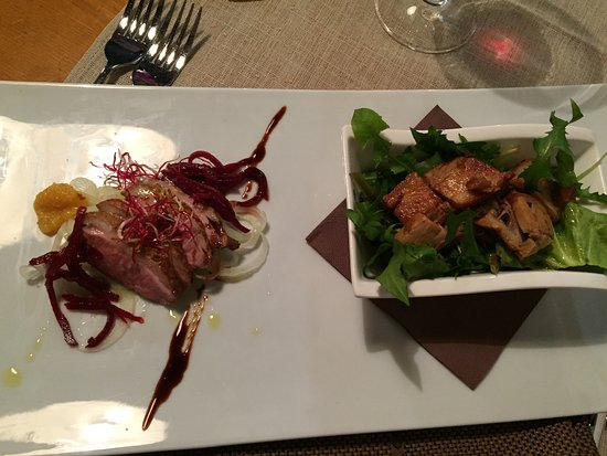 Sezana, Eslovenia: duck appetizer and dandelion and lardon appetizer